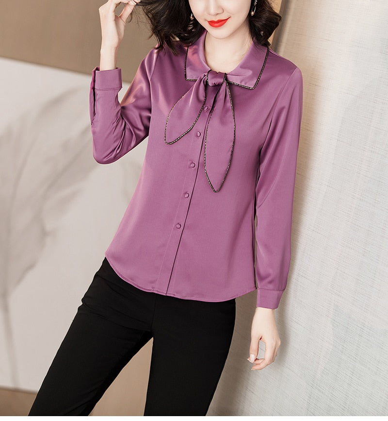 Turn Down Collar Bow Tied Blouse - Source Silk