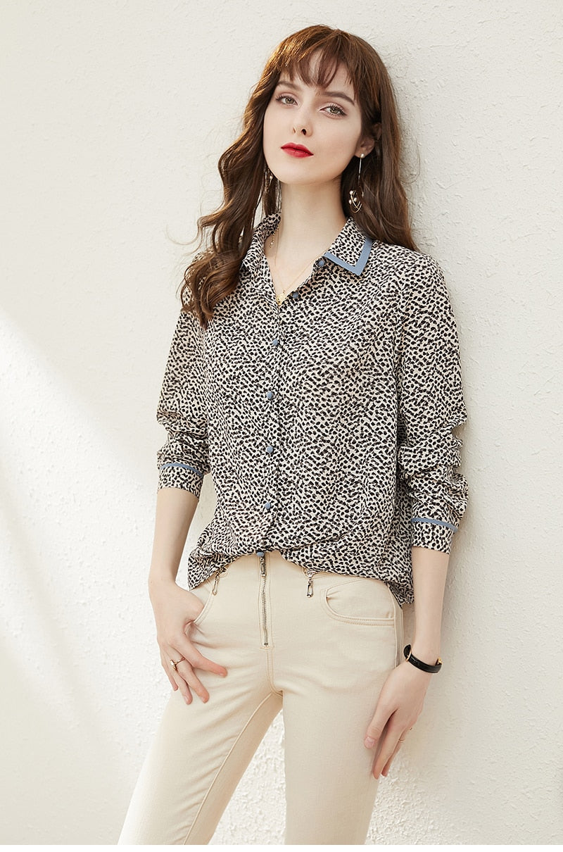 Black and White Leopard Print Blouse - Source Silk