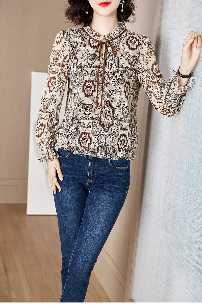 Modern paisely Pullover Blouse - Source Silk
