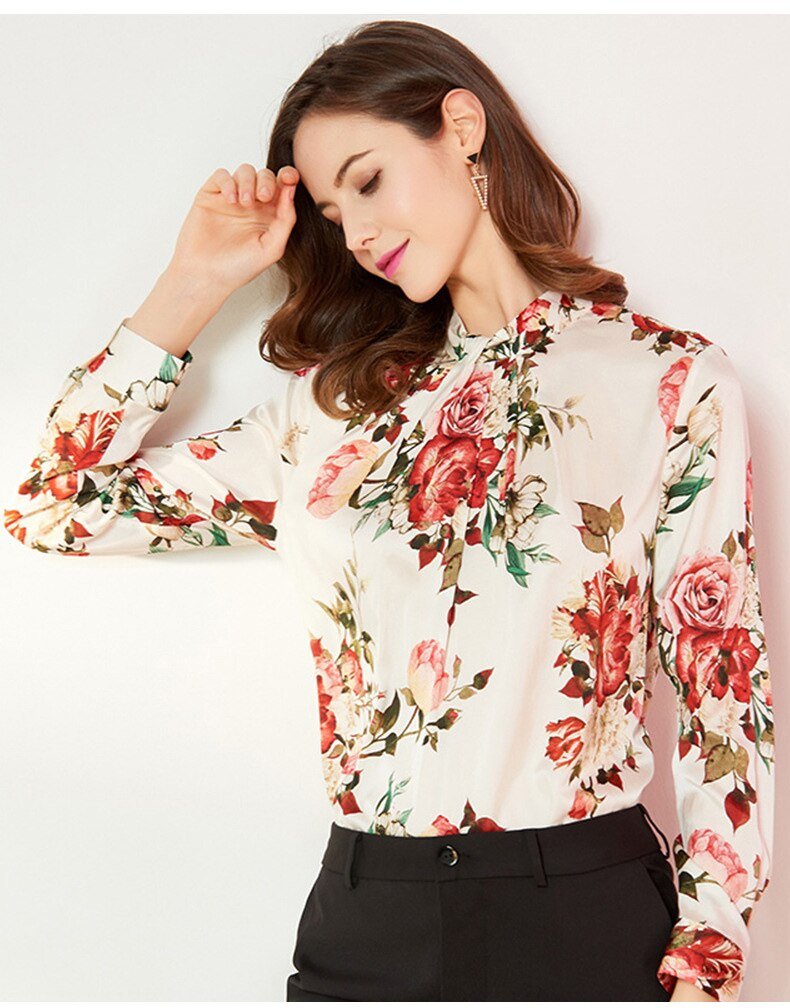 Cream and FLoral Bloom Silk Blouse - Source Silk