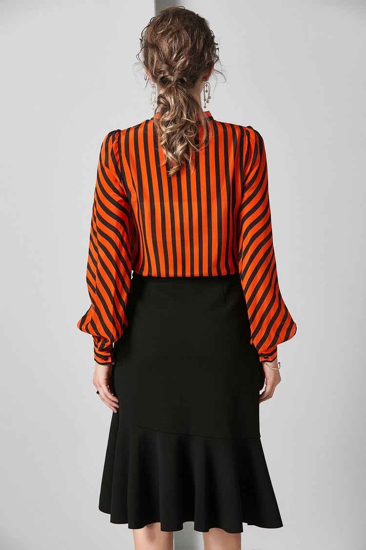 Bright Orange and Black Long Sleeved Blouse - Source Silk