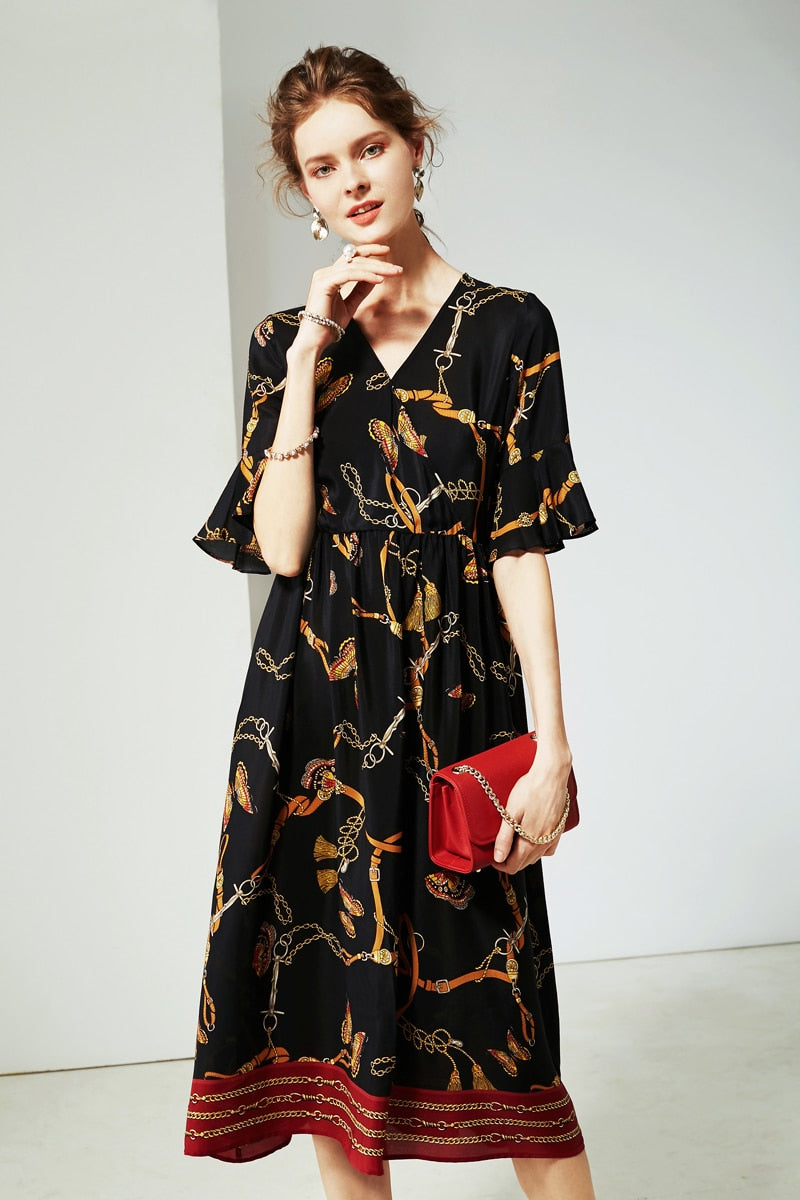 100% Silk Women's Dresses Sexy V Neck Flare Sleeves Printed Ruffles Fashion Casual Quality Dresses - Source Silk