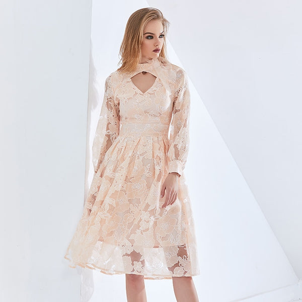 Vintage Patchwork Lace Floral Mesh Dress For Women Long Sleeve High Waist A Line Oversized Dresses Female 2021 New