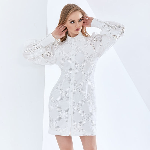 White Hollow Out Women's Dress For Women Lapel Long Sleeve High Waist Mini Dresses Female  Fashion New Tide