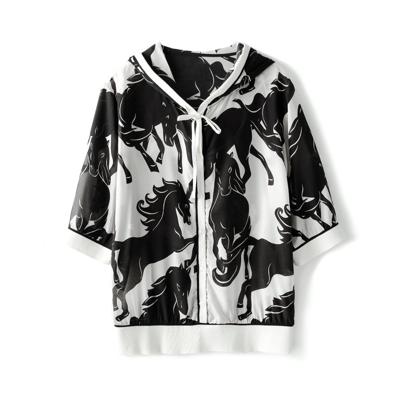 100% Silk Women's Jackets Hooded Collar Short Sleeves Printed Zipper Closure Fashion Casual Blouse Outerwear - Source Silk