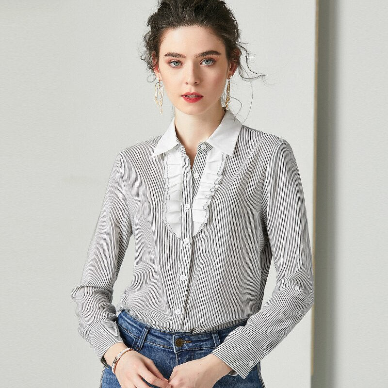 Casual Black and White Blouse - Source Silk