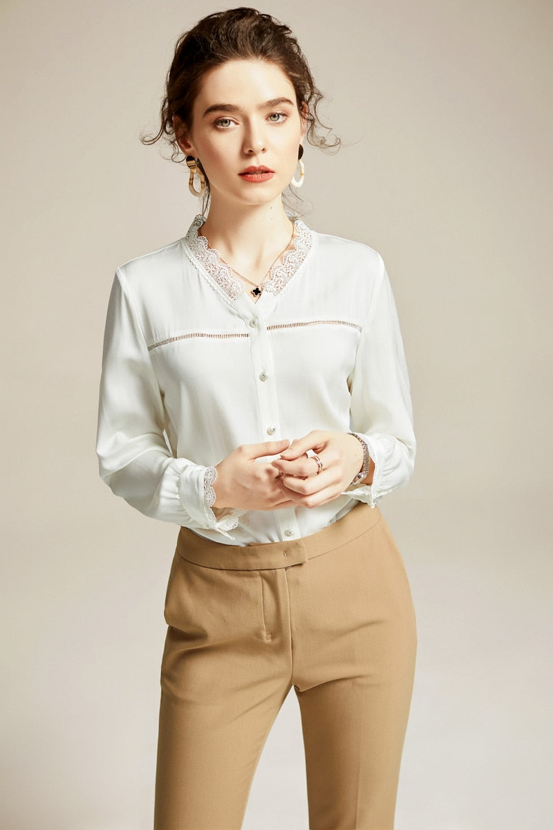 100% Silk Women's Runway Shirt Sexy V Neck Long Sleeves Lace Patchwork Elegant Casual Blouse - Source Silk