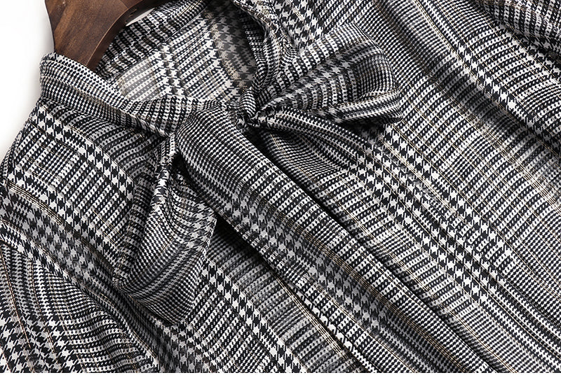 Office Lady Natural Silk Tops Blouse Elegant Bow Vintage Plaid Print Long Sleeve Spring Autumn Women Work Real Silk Shirt Blouse - Source Silk
