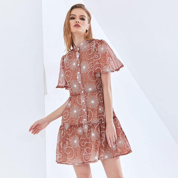 Print Perspective Summer Dress For Women Short Sleeve High Waist Elegant Oversized Dresses 2021 Womens Clothing