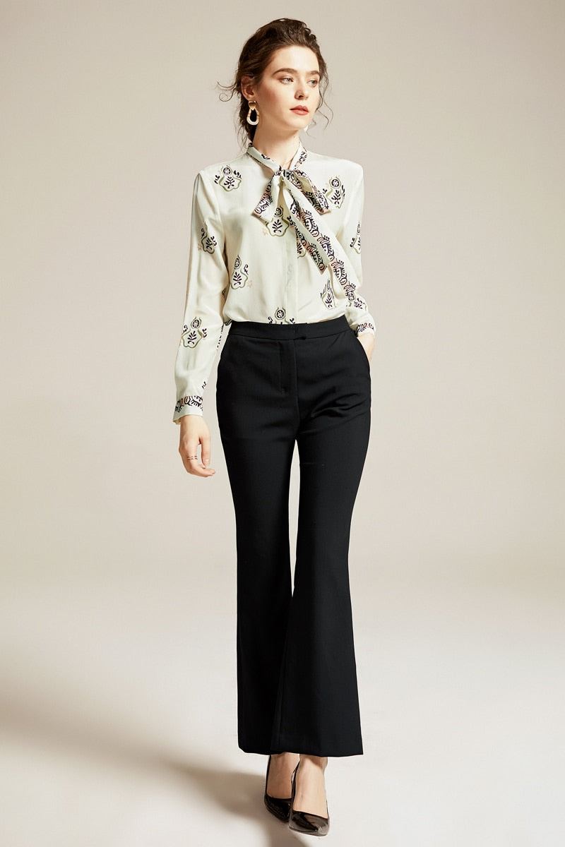 Printed Silk Blouse with Tie - Source Silk