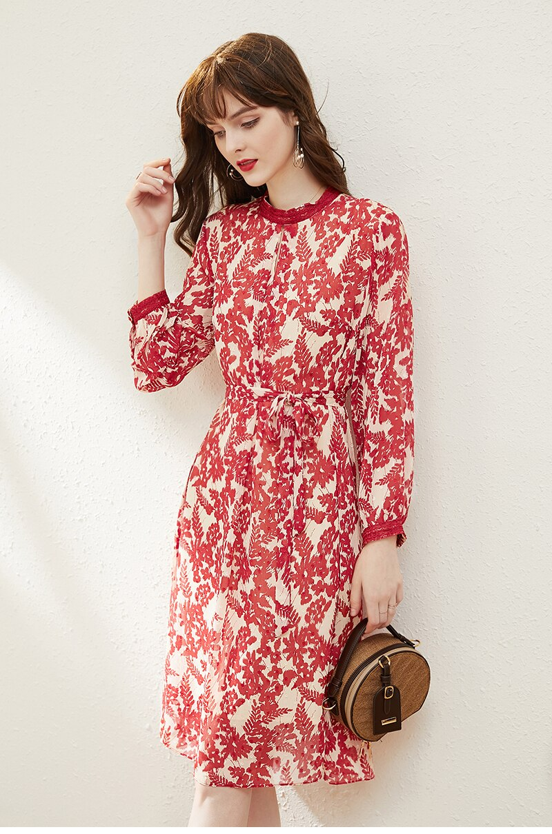 Red Floral Chiffon Dress - Source Silk
