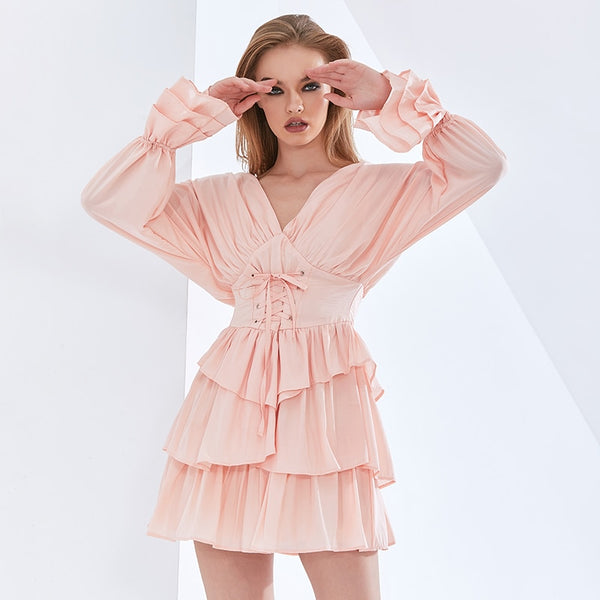 Solid Color Ruffle Summer Dress For Women V Neck Flare Sleeve High Waist Bowknot Dresses Female Fashion New 2021