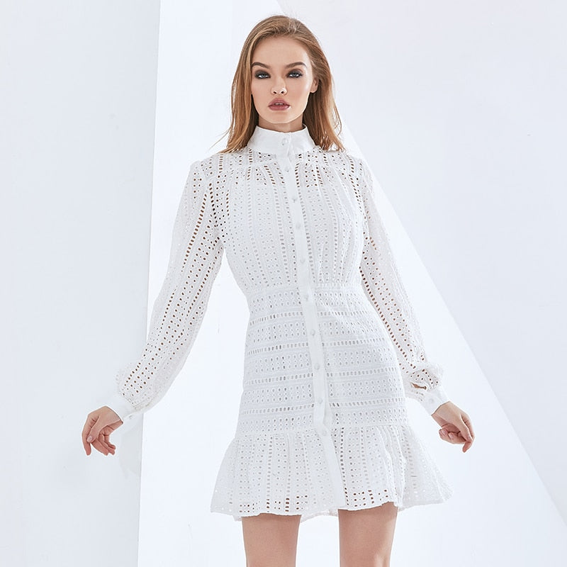 Elegant Solid Color Hollow Out Summer Dress For Women Long Sleeve High Waist Dresses Female Womens Clothing 2021