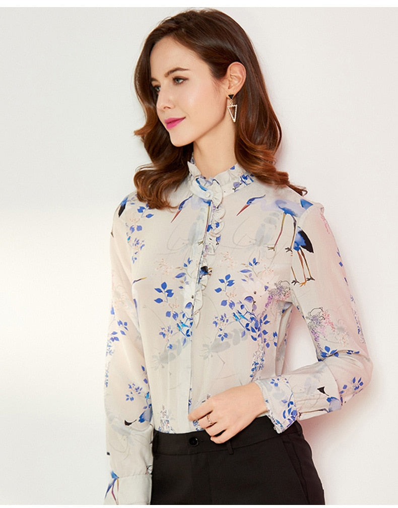 Dainty Floral Mock Collar Blouse - Source Silk