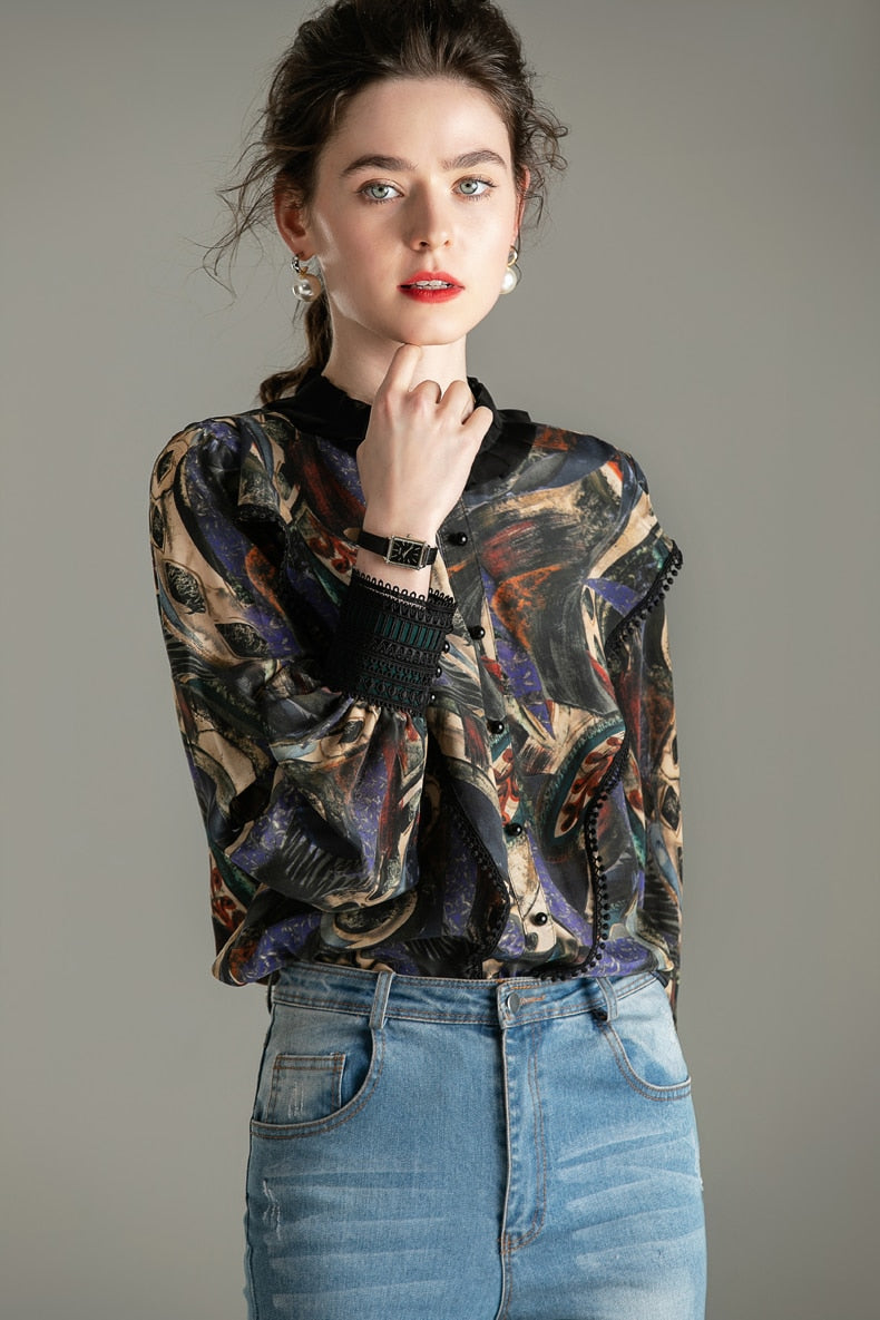 100% Pure Silk Women's Designer Shirts Ruffled Collar Long Sleeves Printed Patchwork Elegant Pullover Blouse Shirt - Source Silk