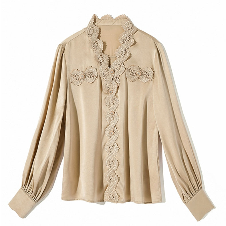 100% Pure Heavy Silk Women's Runway Shirts Sexy V Neck Long Sleeves Appliques Floral Elegant Pullover Blouse Shirt