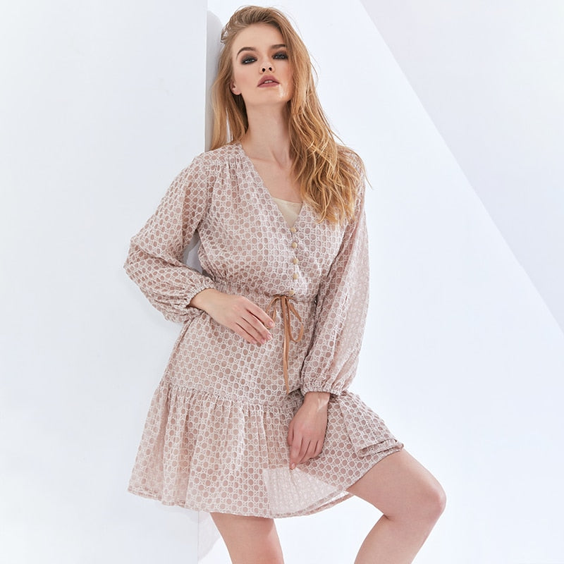 Print Vintage Plaid Dress For Women V Neck Lantern Sleeve High Waist Belt Bowknot Oversized Dresses Womens Clothing