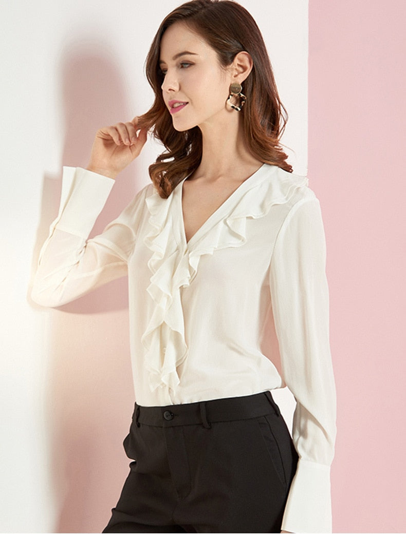100% Pure Silk Women's Designer Shirts Sexy V Neck Long Sleeves Ruffles Fashion Casual Blouse Shirts - Source Silk