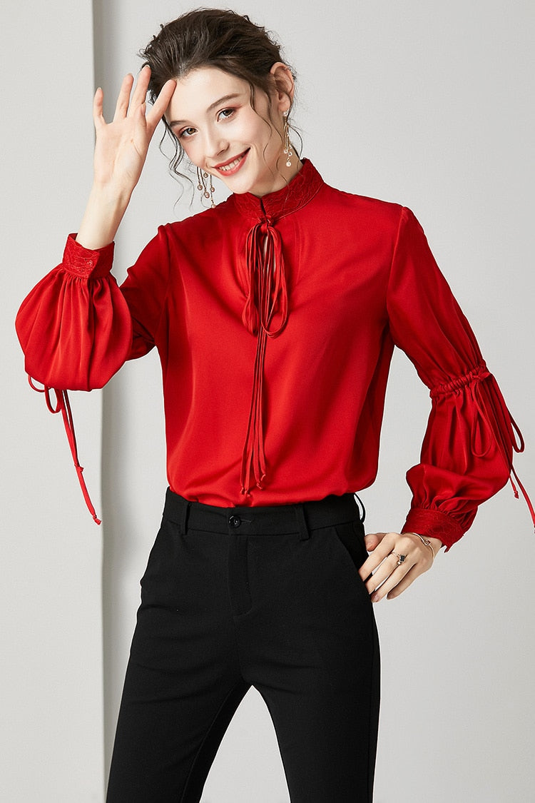 100% Pure Silk Women's Runway Shirts Embroidery Stand Collar Long Sleeves Lace Up Fashion Blouse Tops - Source Silk
