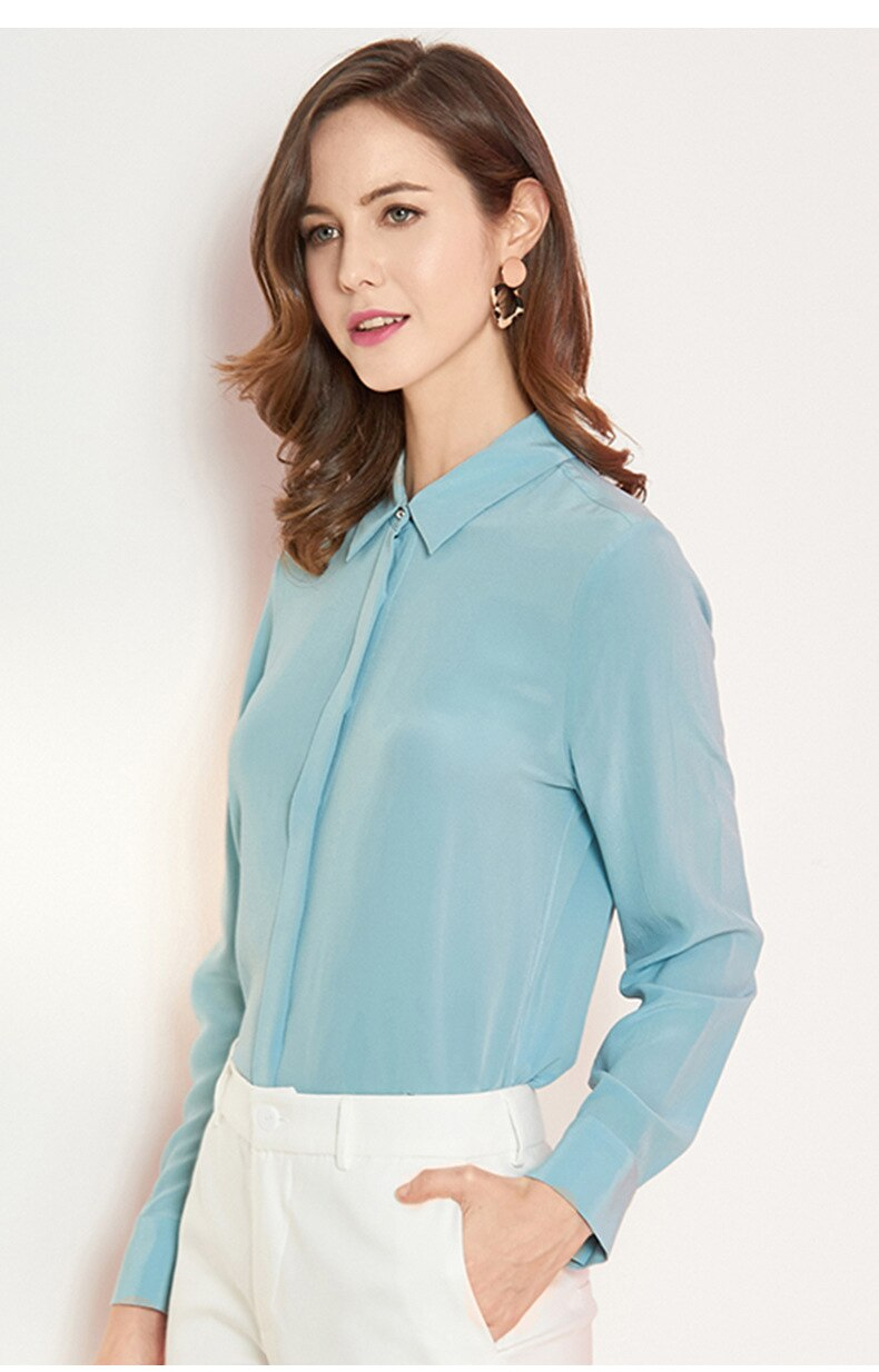 Light Blue Silk Blouse - Source Silk
