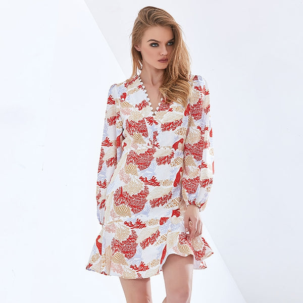 Print Elegant Slim Dress For Women V Neck Long Sleeve High Waist Slim Oversized Dresses Female 2021 Womens Clothing