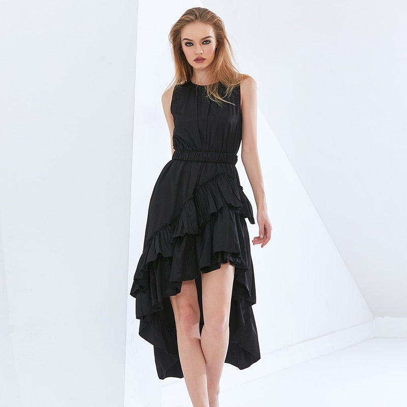 Patachwork Ruffle Dress For Women O Neck Sleeveless High Waist Sashes Irregular Hem Dresses Female  Fashion