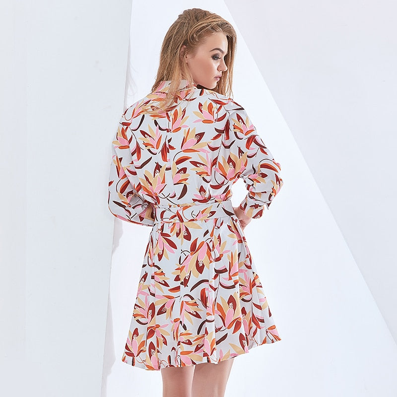 Print Dress For Women V Neck Long Sleeve High Waist Sashes Belt Elegant Dresses Female Fashion Clothing Autumn 2021
