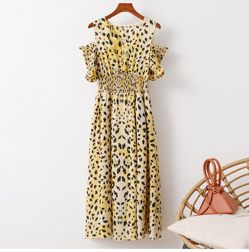 Leopard Print Open Shoulder Dress - Source Silk