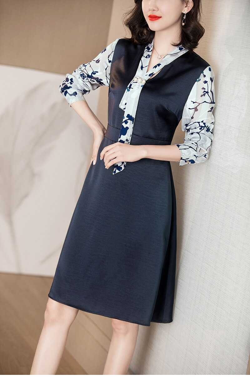 Silky Floral V-Neck Dress - Source Silk
