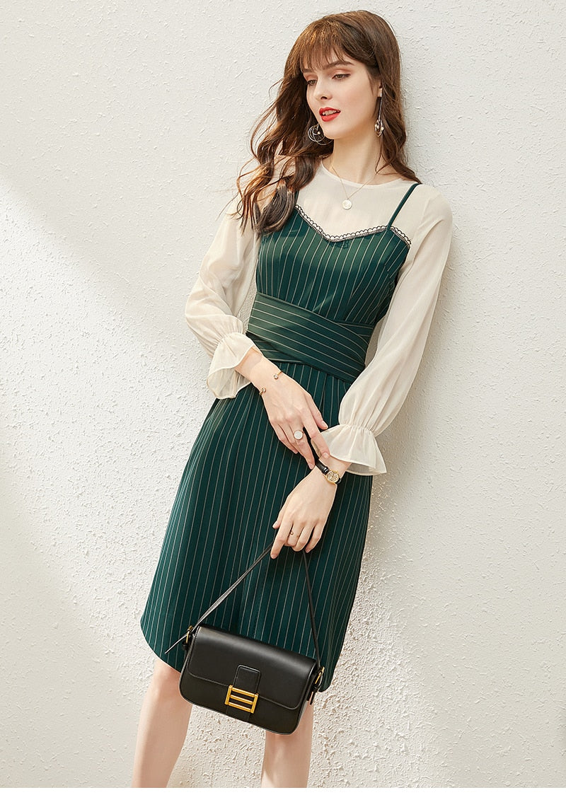 Office Lady Fashion Dresses Elegant Long Flare Sleeve Chiffon Patchwork Striped Spring Autumn Women Asymmetrical A-line Dress - Source Silk
