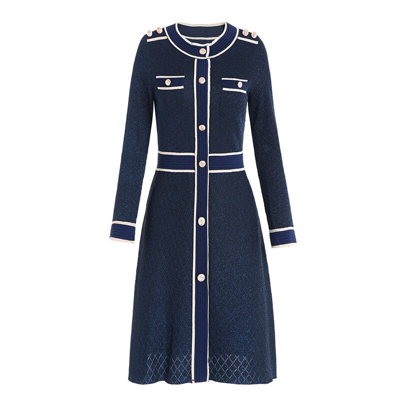 Mock Naval A-Line Dress - Source Silk