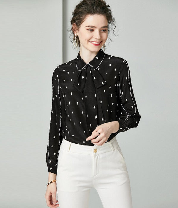 100% Pure Silk Women's Runway Shirts Turn Down Collar Dots Printed Bow  Piping Long Sleeves Elegant Fashion Casual Shirts - Source Silk