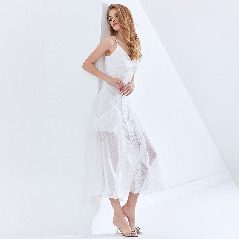 Sexy Mesh Ruffle Dress For Female V Neck Sleeveless High Waist Slip Party Dresses Female Womens Clothing 2021 New