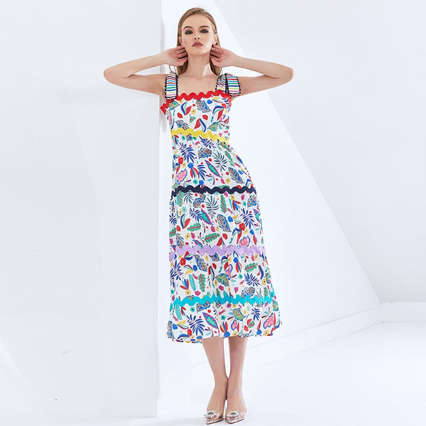Bohemian Print Sling Dress For Women Square Collar Sleeveless High Waist Hit Color Dresses Female Fashion Summer