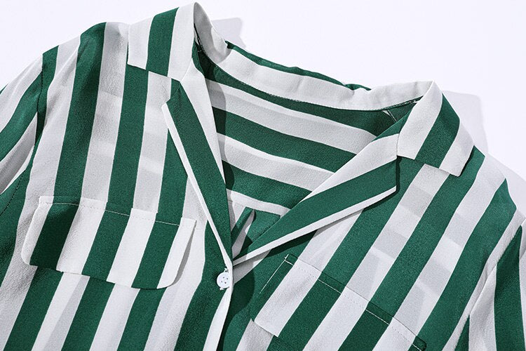 100% Pure Silk Women's Runway Shirts Turn Down Collar Striped Long Sleeves Elegant Casual Blouse Shirt Tops - Source Silk