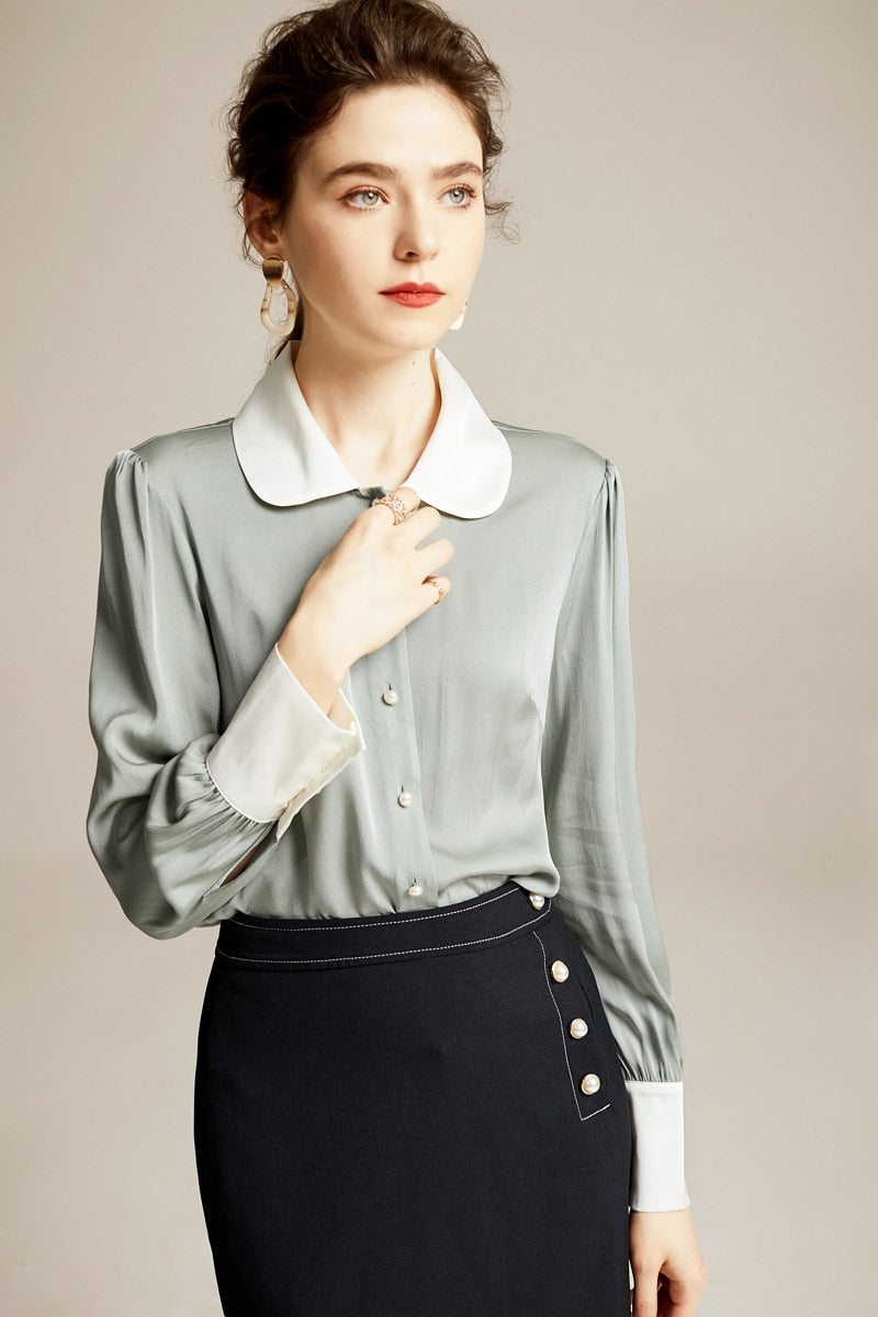 100% Pure Silk Women's Runway Shirts Peter Pan Collar Long Sleeves High Street Fashion Blouse Casual Shirt