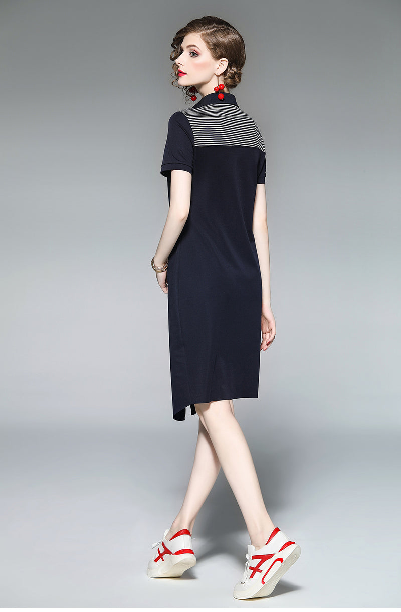 Turndown Collar Short Sleeved Slit Dress - Source Silk
