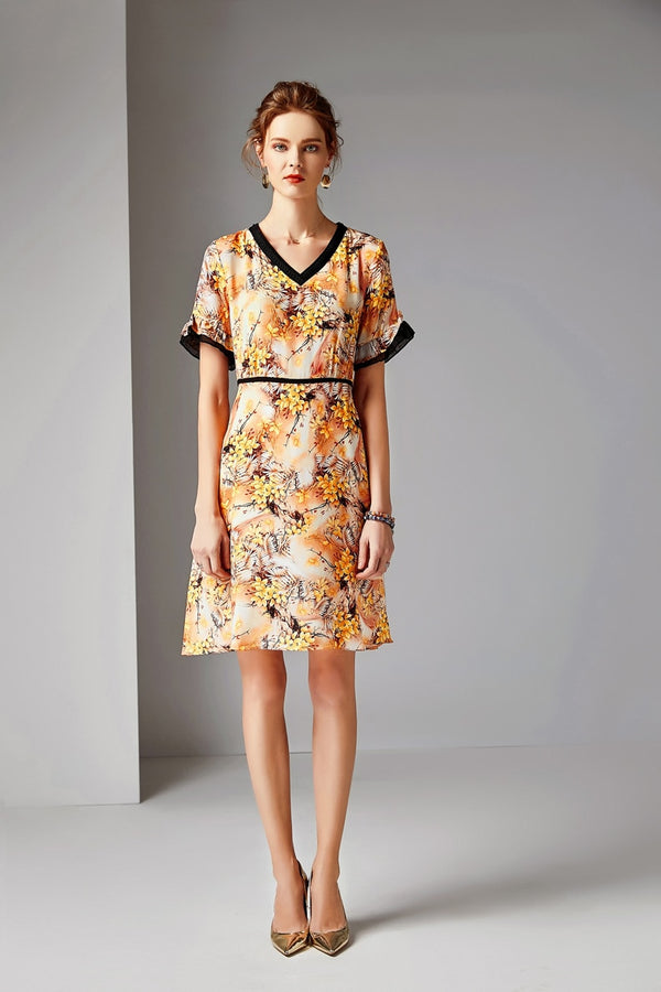 Yellow Floral Print A-Line Dress - Source Silk