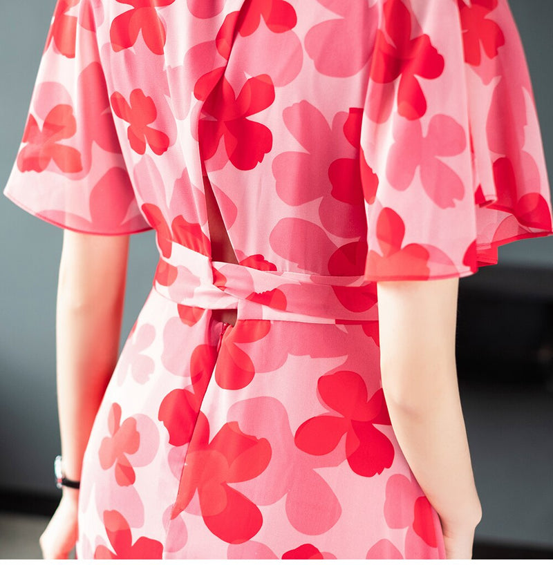 Retro Floral V-Neck Dress - Source Silk