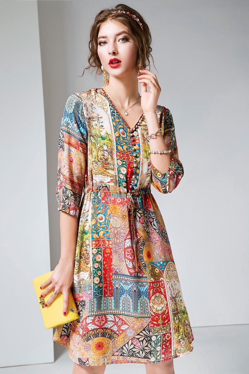 100% Pure Silk Women's Runway Dresses V Neck 3/4 Sleeves Printed Buttons Detailing Fashion Summer Short Dresses - Source Silk