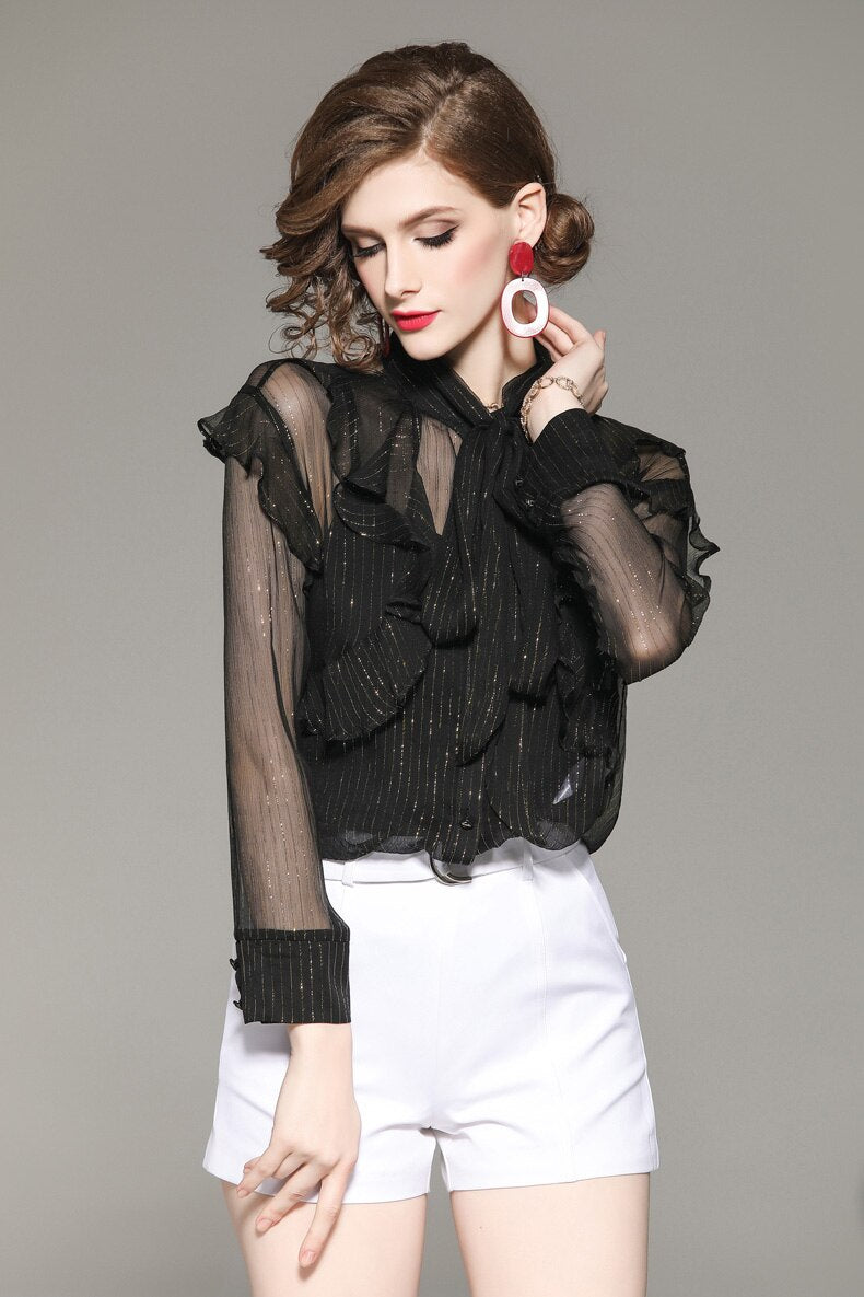 Semi-Sheer Black Ruffled Top - Source Silk