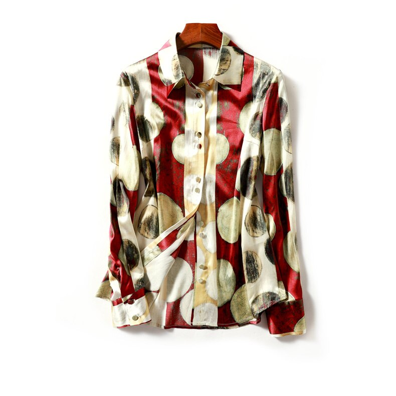 Elegant Red and Gold Printed Blouse - Source Silk