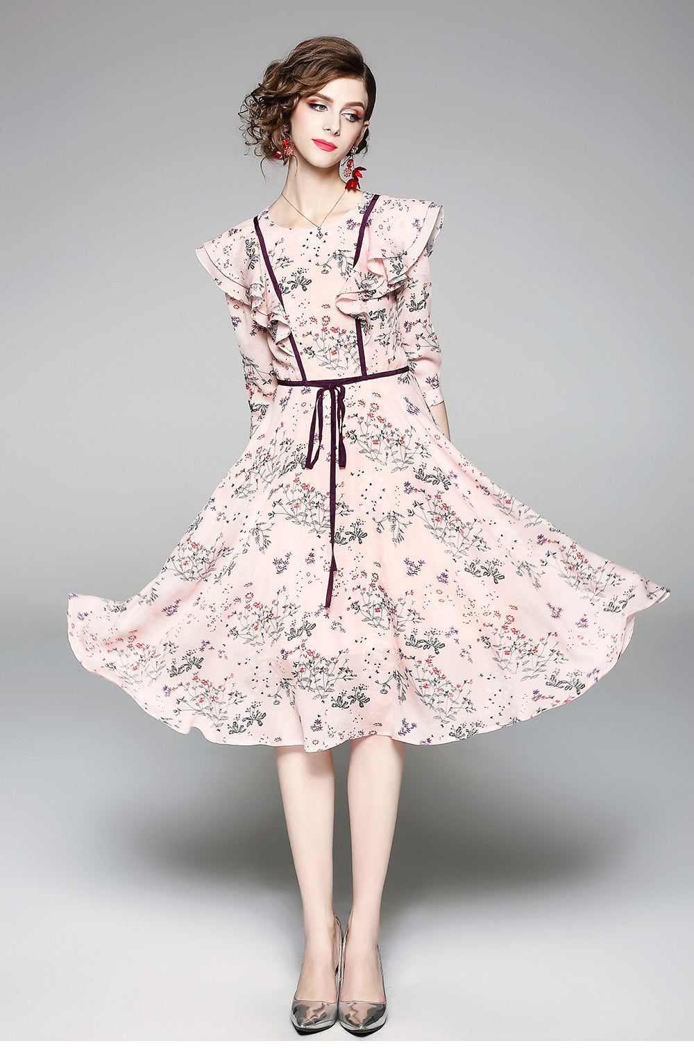 Elegant Floral A-Live Dress with Ruffles - Source Silk