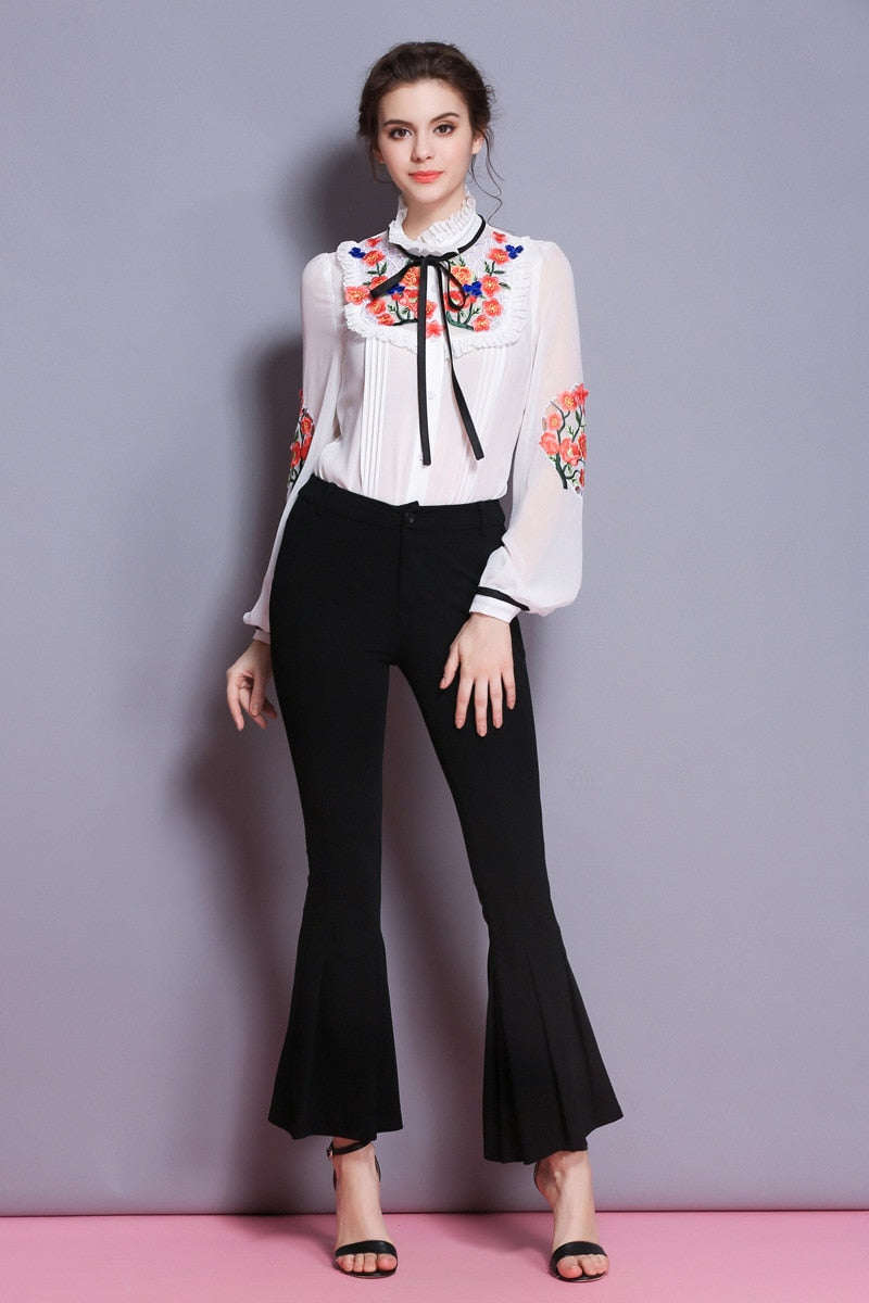 Embroidered Long Sleeve Blouse - Source Silk