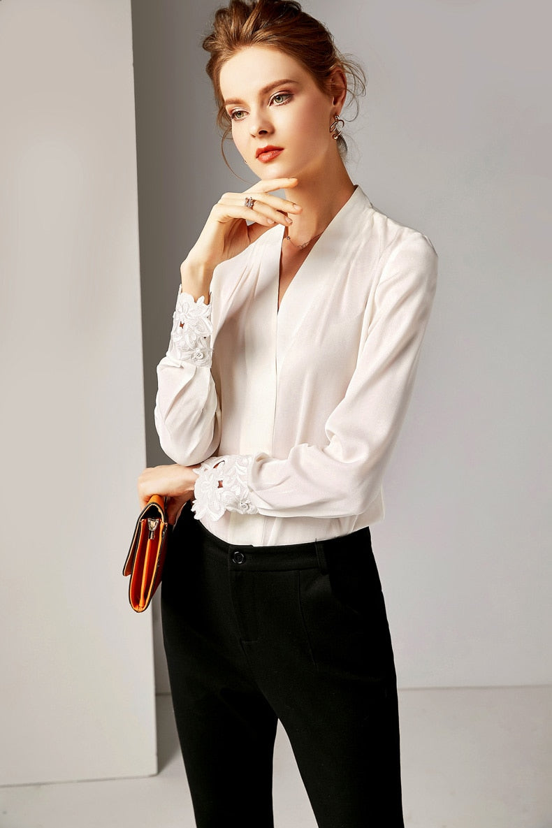 100% Pure Silk Women's Runway Shirts Sexy V Neck Long Sleeves Embroidery Elegant Shirt Blouse - Source Silk