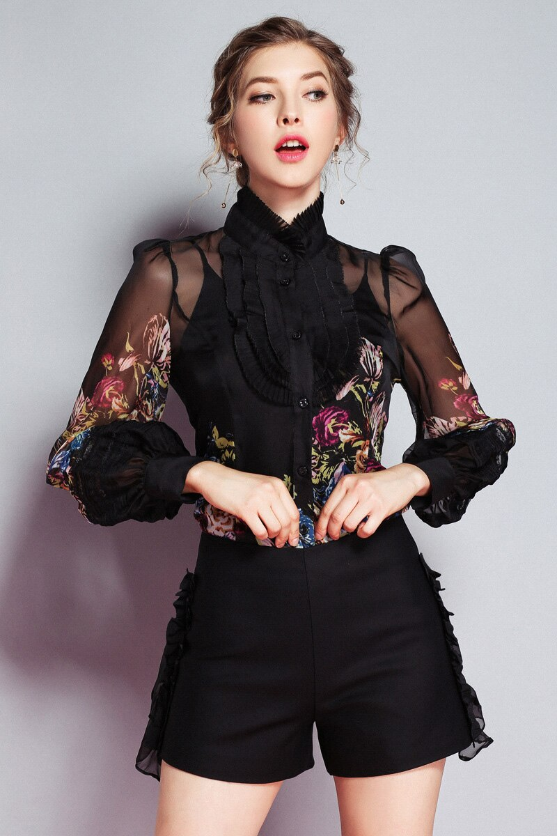 Floral Printed Ruffled Blouse - Source Silk