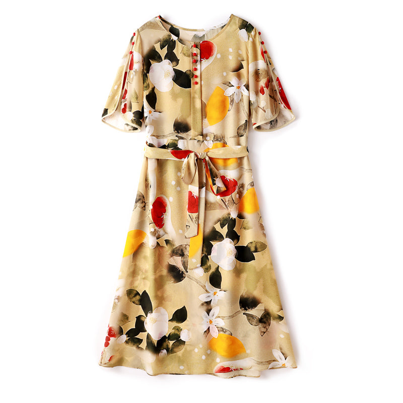 100% Natural Silke Women's Runway Dresse O Neck Short Sleeves Sash Belt Printed Elegant Summer Casual Dresses - Source Silk