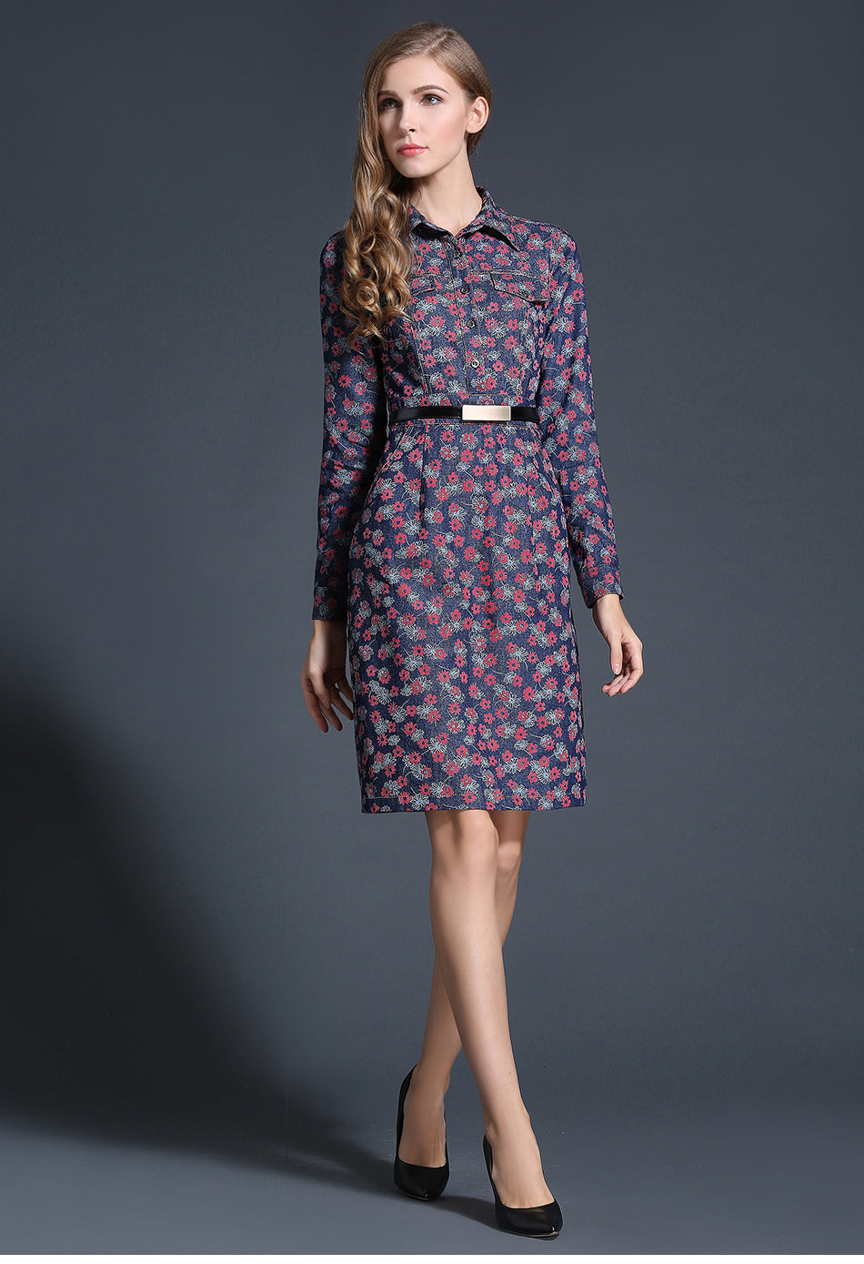 Retro Floral Long Sleeve Denim Dress - Source Silk
