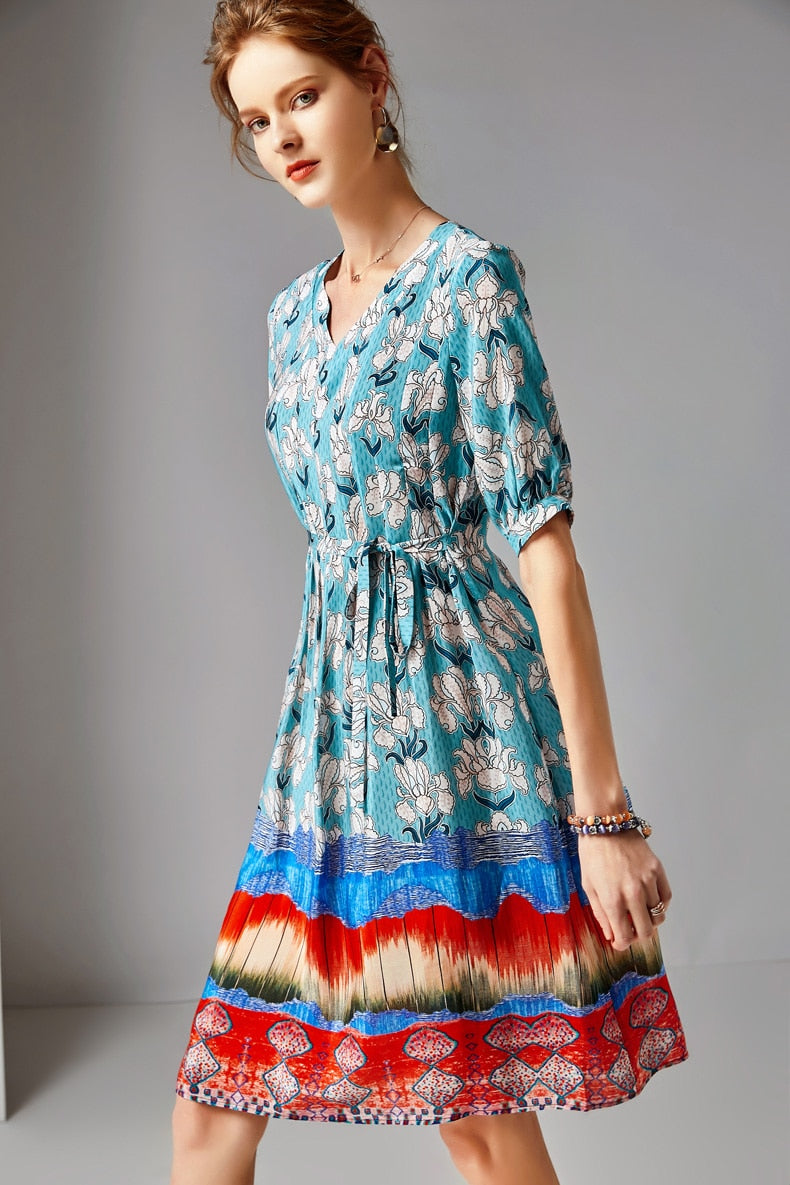 Women's 100% Silk Runway Dresses V Neck Short Sleeves Floral Printed Fashion Casual Summer Dresses - Source Silk
