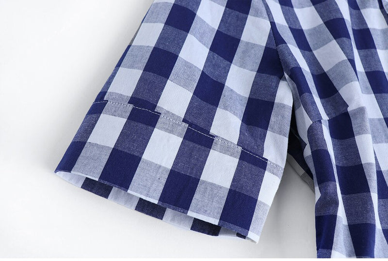 Blue and White Checked Dress - Source Silk
